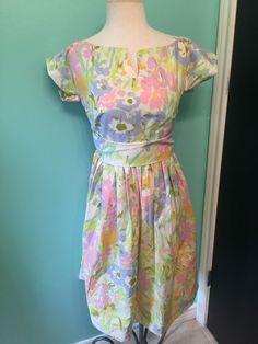 Vintage 1970s Empire Floral Easter Sweetheart Rockabilly Handmade Party Dress-S #Handmade #EmpireWaist #Everyday