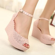 Melissa jelly shoes bow platform wedges sandals open toe high-heeled shoes cutout...