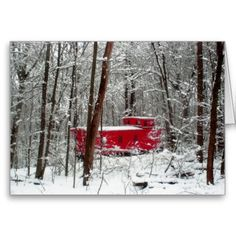 Caboose #trains #Christmas cards trains #red caboose #Winter storm (Greeting Card)