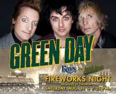 On Saturday, August 31 have the time of your life during Green Day Themed Fireworks! The East Bay band will throw out a ceremonial first pitch. Get a ticket + co-branded A's and Green Day cap when you purchase online at www.oaklandathletics.com/greenday