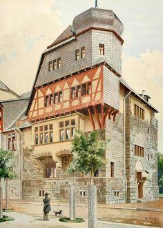 Artwork by Reinhold Volkel Architecture Blueprints, Architecture Drawings, Historical Architecture, Amazing Architecture, Architecture Design, Big Building, Vintage House Plans, 1920s House, Fantasy Concept Art
