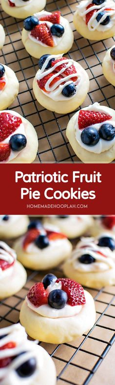 Patriotic Fruit Pie Cookies! Celebrate Independence Day with delicious fruit pie cookies - a soft butter cookie topped with cream cheese frosting, chopped strawberries, and blueberries.   HomemadeHooplah.com