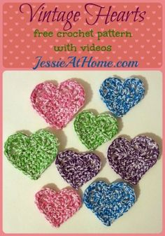 LOVE these. Would make good hearts for a Valentines #lovebomb Vintage Hearts ~ Free crochet pattern in two sizes by Jessie At Home