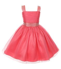 Stunning coral speciall occasion tulle dress with sparkling rhinestones on shoulder straps and waist (girls sz. 2-14) ~ flower girls, wedding, Easter, graduation ~ Color Me Happy Boutique