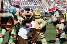 You see correctly, it's T.C. Bear hanging with the Teenage Mutant Ninja Turtles!