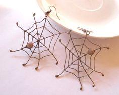 Statement earrings copper wire beaded jewelry by ArtemisFantasy, $35.00