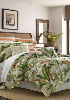 Palmiers 3 Piece Tropical Palm Duvet Cover Set by Tommy Bahama, Size: Full/Queen King Duvet Cover Sets, Queen Comforter Sets, Bedding Sets, Duvet Covers, Queen Duvet, Green Comforter, Comforter Cover, Tommy Bahama, Tropical Bedding