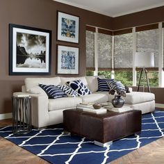 Color Harmony: The blues with their darker hues work well with the browns, and the contrasting white. It is a lot of color without feeling too crazy.