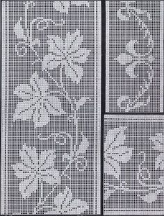 Cora Kirchmaier Book of Filet Crochet and Cross Stitch Book this bookMaple Leaf Pattern ~ Counted cross stitch, or filet crochet. Filet Crochet, Crochet Cross, Crochet Chart, Crochet Home, Crochet Motif, Crochet Doilies, Crochet Stitch, Knitting Stitches, Knitting Patterns