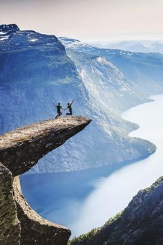 Trolltunga, Norway Ok maybe I won't be jumping up and down.  But what a view.
