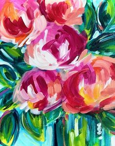 Easy Online Abstract Flower Painting Classes In this class I teach you how to paint easy abstract flowers with acrylic paint on canvas. I start off the class by showing you all of the supplies and paint colors I am using. Then I walk you through my painting process step by step. I show you how I layer paint on my canvas and how I add finishing details. You can complete the entire class in under an hour! I hope you enjoy painting flowers with me! Easy Flower Painting, Flower Painting Canvas, Flower Canvas, Flower Paintings, Acrylic Painting For Beginners, Simple Acrylic Paintings, Acrylic Painting Tutorials, Happy Paintings, Art Paintings