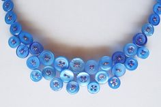 Royal blue button necklace - The Duchess