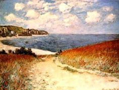 Claude Monet- this picture shows excellent examples of shape. The forms within the painting such as the mountain cliffside, and then the volume of the foliage. The main focal point of the painting is the beach itself-- the water. Your eye is literally drawn all over the page, from one end to the other.