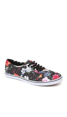 c6eeeabd635 Vans Authentic Lo Pro Black Floral Sneakers  pacsun