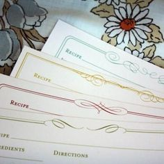 Free recipe cards to print.  Create a sample of the recipe to give with hand written recipe on the card.