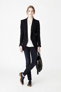 Minimal + Classic: Steven Alan Mixing Neutrals - Womens PS14 #womenswear #brogue #jeans #loafer #blazer #black