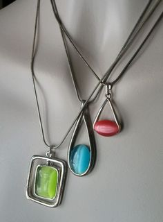 Lot 3 Vintage Cats Eye Moonglow Silver Tn Pendant Necklaces, Green Pink & Blue #VintagePendantNecklace