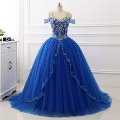 New Ball Gown Quinceanera Dresses Tulle Sweet Princess Dresses Sequins Beaded Sweep Train Prom Dress by prom dresses, $216.00 USD