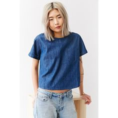 BDG Denim Pocket Tee ($54) ❤ liked on Polyvore featuring tops, t-shirts, vintage denim medium, vintage pocket tee, denim top, vintage t shirts, crew neck pocket tee and blue top