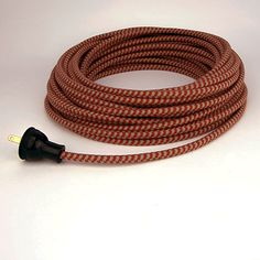 Cloth-covered 18/2 Red & Putty Small Hound's-Tooth Cotton Pulley Cord