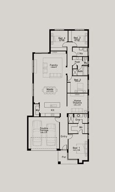 New Haven - Dechellis Homes Narrow House Plans, House Floor Plans, Home Design Plans, Plan Design, Floor Layout, Double Garage, Home Theater, Planer, Houses