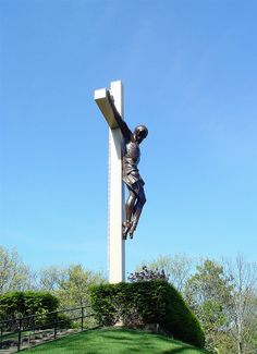 Cross in the Woods by sculptor Marshall Fredericks at Indian RIver, Michigan. This is said to be the world's largest crucifix at 55 feet tall.