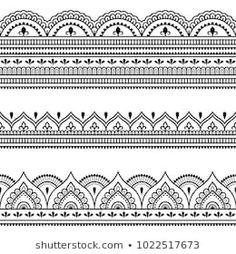 Set of seamless borders for design, application of henna, Mehndi and tattoo. Decorative pattern in ethnic oriental style. Mandala Art Lesson, Mandala Doodle, Mandala Drawing, Mandala Pattern, Mandala Design, Indian Henna, Henna Mehndi, Design Elements, Design Art