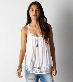 AEO Embroidered Crossback Tank