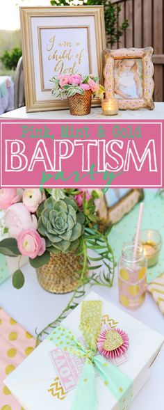 Entertain: Pink, Gold and Mint Baptism Party.  A beautiful baptism or christening party idea for girls.  Lots of DIY party ideas. Baptism Party Girls, Baby Girl Baptism, Christening Party, Baptism Ideas, Girl Baptism Centerpieces, Christening Decorations, Baptism Reception, Reception Ideas, Vintage Baptism
