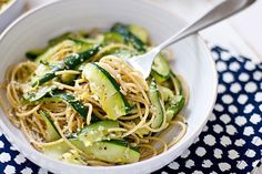 Zucchini and Lemon Spaghetti. A simple pasta dish flavored with lemon zest, garlic, and fresh herbs. Recipe from Oh My Veggies.