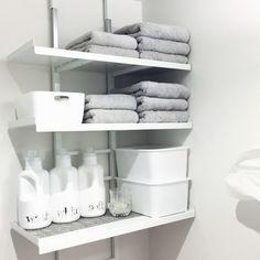 洗濯が楽しい!mon・o・toneのボトル&ラベルのある洗面所