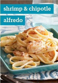 Shrimp & Chipotle Alfredo Recipe - Kraft Recipes shrimp+ canned chipotle peppers + fettuccine Kraft Recipes, Fish Recipes, Seafood Recipes, Cooking Recipes, Recipies, Fetuchini Alfredo, Alfredo Recipe, Alfredo Sauce, Gastronomia