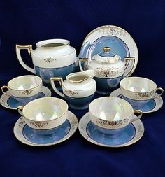 VINTAGE-JAPANESE-LUSTERWARE-TT-TAKITO-TEA-SET-15-PCS