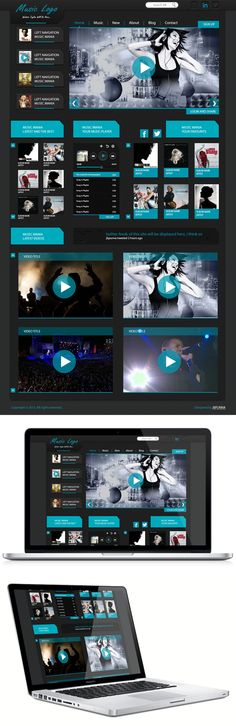 This is a unique and creative PSD template with clean and modern design. It is perfect choice for your Music agency or creative studio. Site Music, Music Web, Modern Design, Web Design, Web Inspiration, Creative Studio, Design Reference, Psd Templates, Website