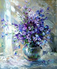 Medium: oil on canvas The work depicts a vase of purple flowers placed in water. The use of white in the background replicates natural lighting. The artist displays his skills of depicting glass and water by using whites to create reflections of light.