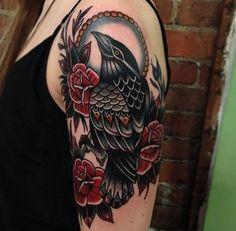 Raven and Rose Tattoo on Sleeve - 60+ Mysterious Raven Tattoos  <3 !