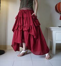 Take Me to Your Heart...Steampunk Short Front/ Long back Tiered Dark Red Light Cotton Skirt With 2 Roomy Pockets. $52.00, via Etsy.