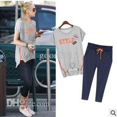 Wholesale-2015 New Summer Tracksuit For Women Short Sleeve Round Neck Letter Print Sweatshirt Women's Sweat Pants Sport Suit Women Online with $39.21/Piece on Goon2015's Store | DHgate.com