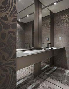 lavabo com papel de parede marrom - Pesquisa Google