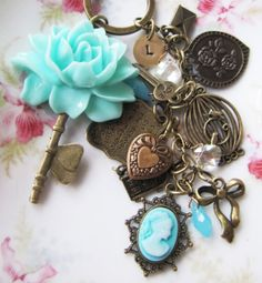 Initial key chain/purse charm, by romanticcrafts on Etsy, $20.00