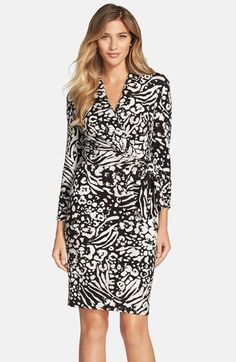 Adrianna+Papell+Print+Three+Quarter+Sleeve+Faux+Wrap+Dress+available+at+#Nordstrom