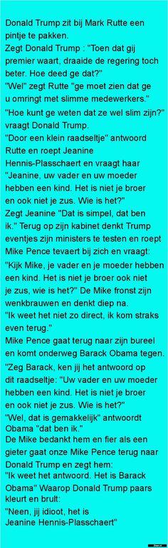 Donald Trump zit bij Mark Rutte