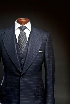 Navy horizontal striped suit.