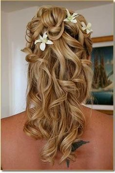 long hair with flowers