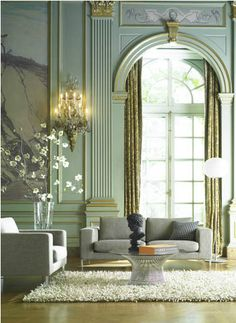 Aaron Hom stylist art director house interior french chateau living room modern furniture spare high ceilings