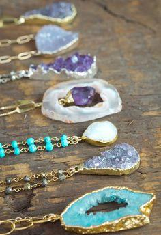 Bezel set Blue Agate Gemstone Necklace / by AlisonStorryJewelry