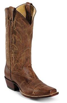 Justin Mens Cowboy Boots Tan Distressed Vintage Goat