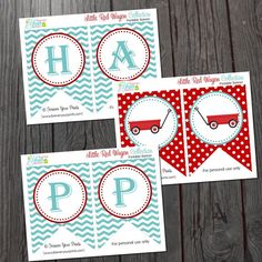 Little Red Wagon Birthday Banner - INSTANT DOWNLOAD on Etsy, $6.00