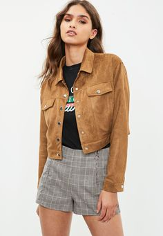 Brown faux suede cropped trucker jacket with pockets and front button fastening.