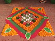 My rangoli Flower Rangoli, Floating Flowers, Flowers Decoration, Diwali Decorations, Rangoli Designs, Mandala, Decorating Ideas, Decor Ideas, Butterfly